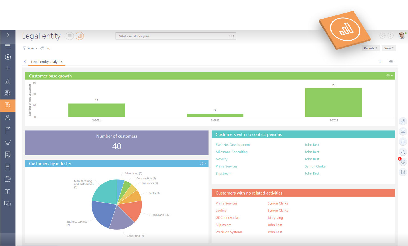 CRM financial software interface